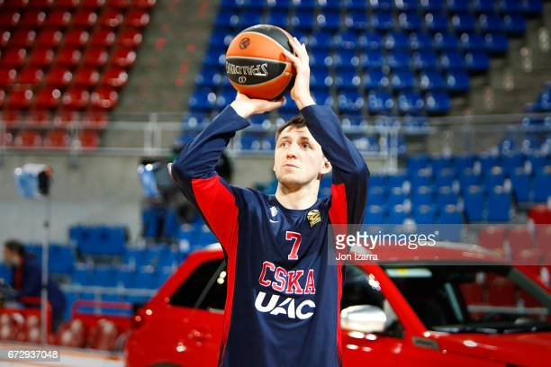 Vitaly Fridzon #7 of CSKA Moscow warms up during the 2016/2017 Turkish Airlines EuroLeague Playoffs leg 3 game between Baskonia Vitoria Gasteiz v...
