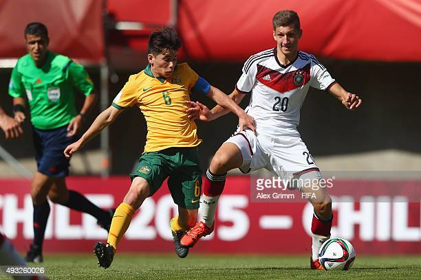 Vitaly Janelt of Germany is challenged by Joe Caletti of Australia during the FIFA U17 World Cup Chile 2015 Group C match between Australia and...
