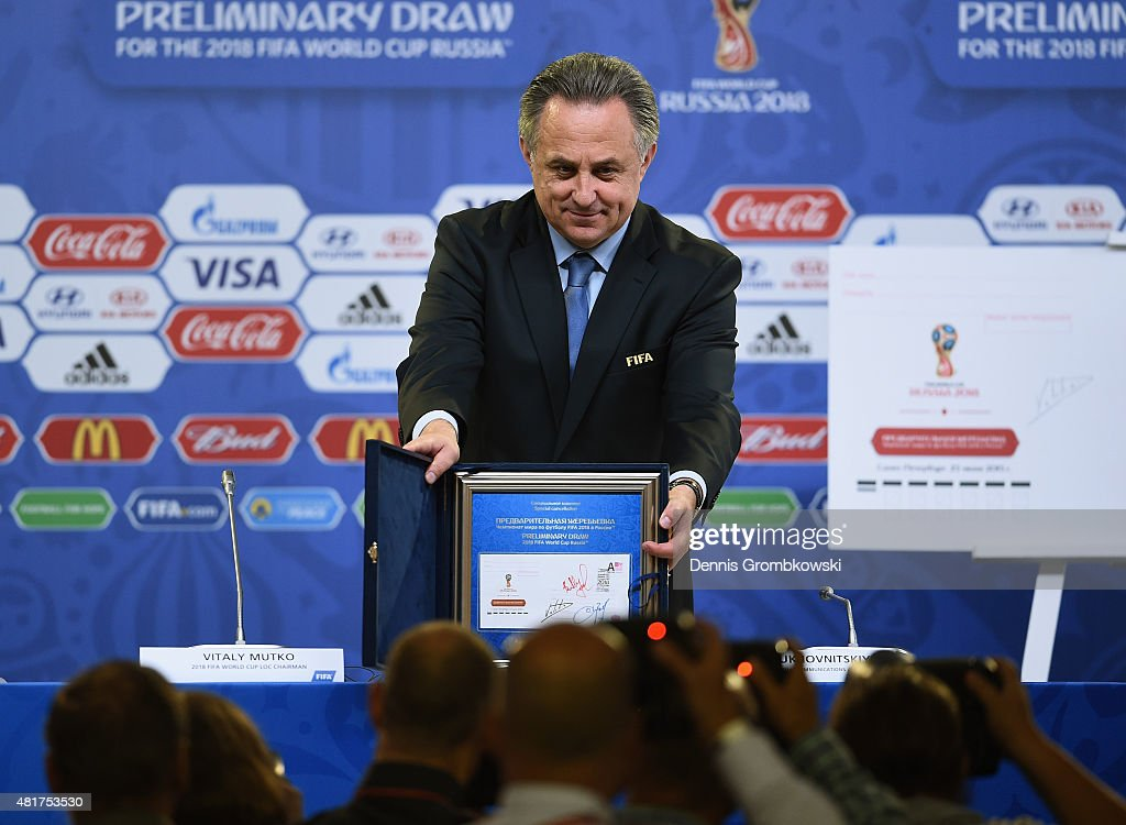 <a gi-track='captionPersonalityLinkClicked' href=/galleries/search?phrase=Vitaly+Mutko&family=editorial&specificpeople=687552 ng-click='$event.stopPropagation()'>Vitaly Mutko</a> Chairman of the Local Organising Committee poses during a philatelic programme launch press conference ahead of the preliminary draw of the 2018 FIFA World Cup in Russia at Konstantin Palace on July 24, 2015 in Saint Petersburg, Russia.