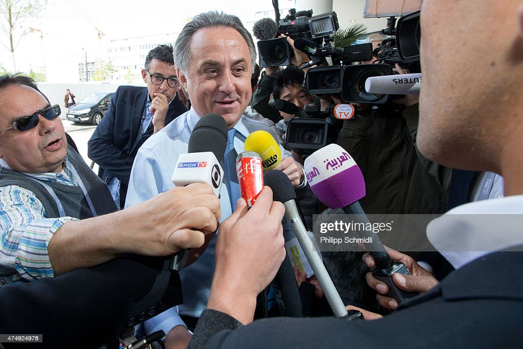 <a gi-track='captionPersonalityLinkClicked' href=/galleries/search?phrase=Vitaly+Mutko&family=editorial&specificpeople=687552 ng-click='$event.stopPropagation()'>Vitaly Mutko</a>, FIFA Executive Committee member, arrives at the hotel prior to the 65th FIFA Congress at Hallenstadion on May 28, 2015 in Zurich, Switzerland.