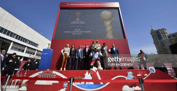 Vitaly Mutko Russia 2018 LOC Chairman and Deputy Prime Minister and other officials attend the opening of the FIFA Confederations Cup Park at...