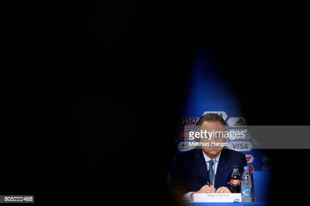 Vitaly Mutko Russian Deputy Prime Minister and LOC Chairman speaks to the media during the Closing Press Conference of the FIFA Confederations Cup...