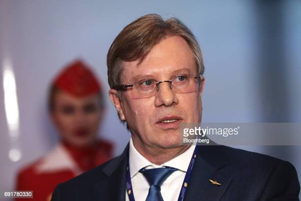 Vitaly Savelyev chief executive officer of AeroflotRussian Airlines PJSC speaks to attendees during the St Petersburg International Economic Forum at...