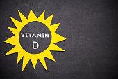 Sun and ,,Vitamin D'' written on blackboard