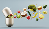 Vitamins pill, organic vegetables and fruit, illustration