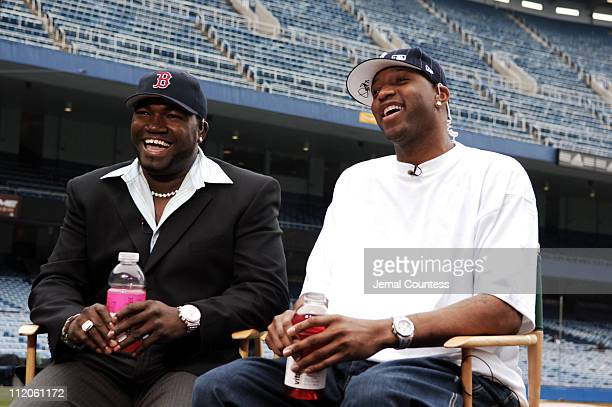 vitaminwater power couple David Ortiz of the Boston Red Sox and Tracy McGrady of the Houston Rockets hanging out at Yankee Stadium prior to the New...