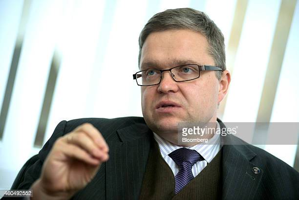 Vitas Vasiliauskas governor of Lithuania's central bank speaks during an interview at his office in Vilnius Lithuania on Monday Dec 15 2014...