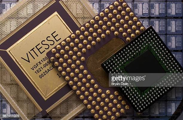 Vitesse Semiconductor Corp in Camarillo makes gallium arsinide computer chips that is inside these packages