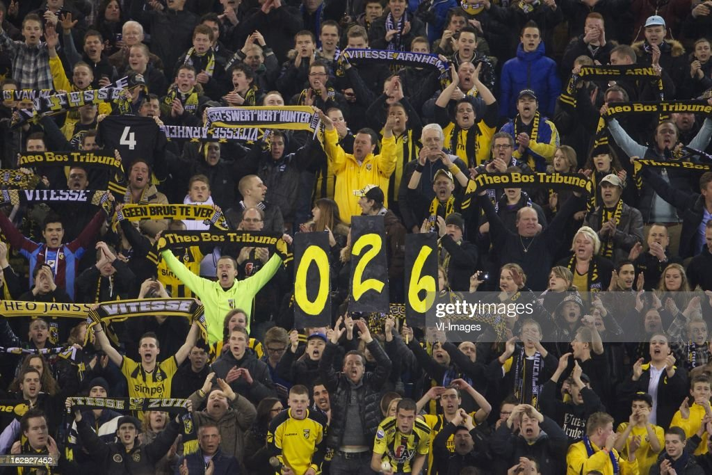 Vitesse supporters tribute to Theo Bos during the Dutch Eredivisie match between Vitesse Arnhem and FC Utrecht at the Gelredome on march 01, 2013 in Arnhem, The Netherlands