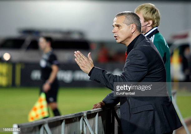 Vitezslav Lavicka coach of AC Sparta Praha looks on during the UEFA Europa League group stage match between Hapoel Kiryat Shmona FC and AC Sparta...