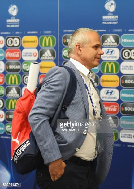 Vitezslav Lavicka coach of Czech Republic arrives at the stadium prior to the UEFA European Under21 Championship Group C match between Czech Republic...
