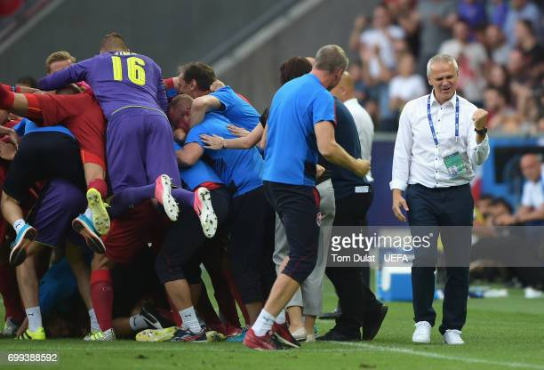Vitezslav Lavicka coach of Czech Republic celebrates during the UEFA European Under21 Championship Group C match between Czech Republic and Italy at...