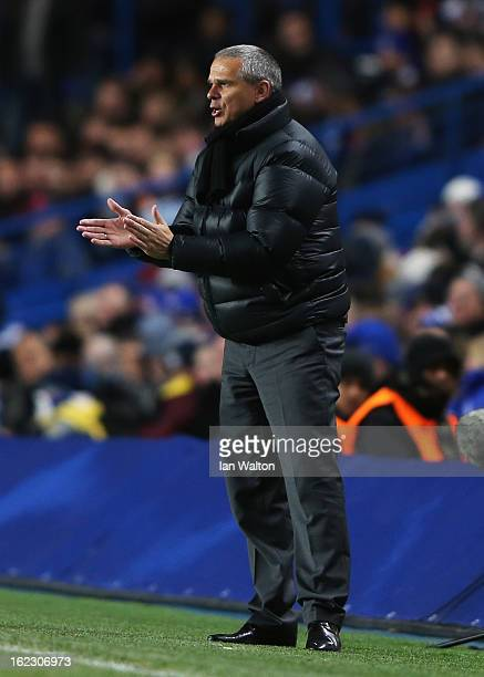 Vitezslav Lavicka coach of Sparta Praha encourages his players during the UEFA Europa League Round of 32 second leg match between Chelsea and Sparta...
