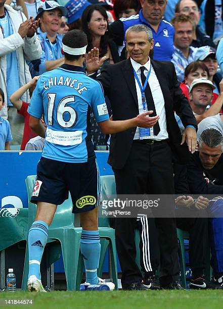 Vitezslav Lavicka coach of Sydney FC congratulates Joel Chianese of Sydney after he was substituted during the round 25 ALeague match between Sydney...