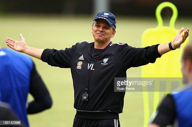 Vitezslav Lavicka coach of Sydney FC instructs his players during a Sydney FC ALeague training session at Macquarie Uni on December 7 2011 in Sydney...