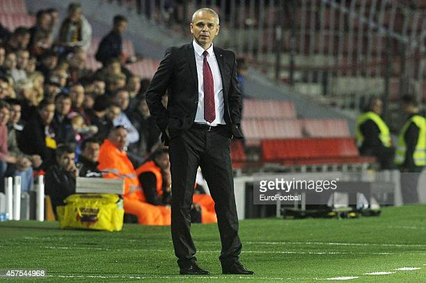 Vitezslav Lavicka Head Coach of AC Sparta Praha looks on the UEFA Europa League Group I match between AC Sparta Praha and BSC Young Boys at the...