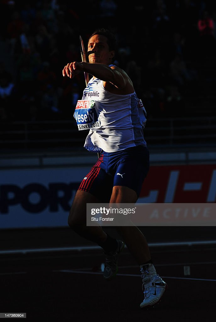 Vitezslav Vesely of Czech Republic competes on his way to victory in the Men's Javelin final during day two of the 21st European Athletics Championships at the Olympic Stadium on June 28, 2012 in Helsinki, Finland