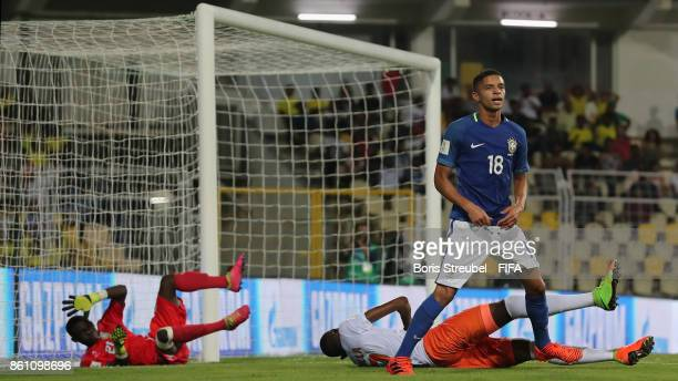 Vitinho of Brazil reacts as he missed the goal during the FIFA U17 World Cup India 2017 group C match between Niger and Brazil at Pandit Jawaharlal...