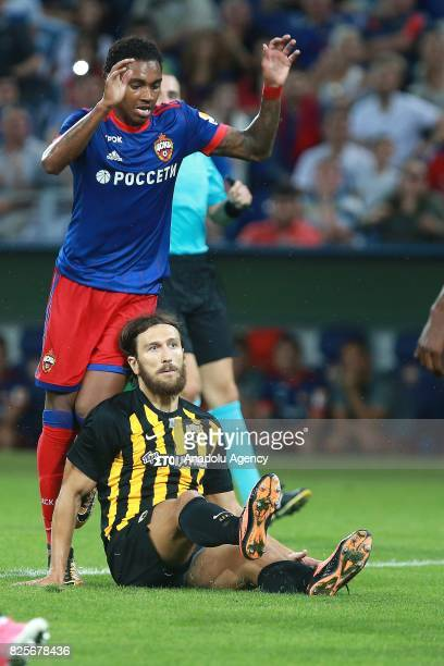 Vitinho of CSKA Moscow in action against Dmytro Chygrynskiy of AEK Athens during the UEFA Champions League 3rd Qualifying Round match between CSKA...