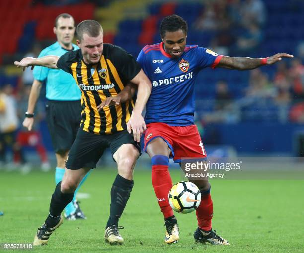 Vitinho of CSKA Moscow in action against Jakob Johansson of AEK Athens during the UEFA Champions League 3rd Qualifying Round match between CSKA...