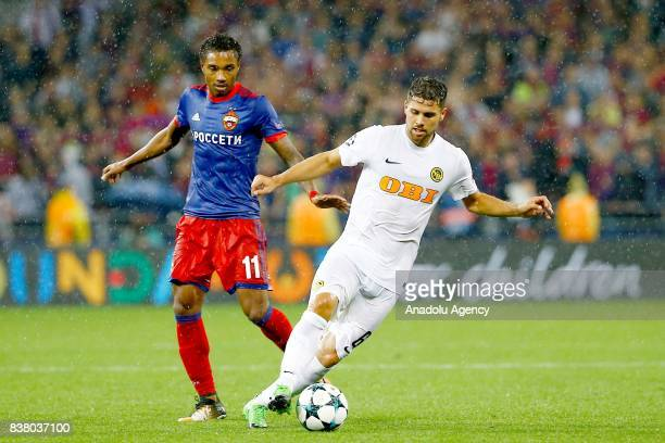 Vitinho of CSKA Moscow in action against Leonardo Bertone of BSC Young Boys during a UEFA Champions League playoff match between CSKA Moscow and BSC...