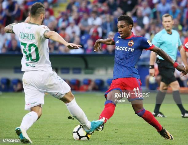 Vitinho of PFC CSKA Moscow vies for the ball with Fyodor Kudryashov of FC Rubin Kazan during the Russian Premier League match between PFC CSKA Moscow...