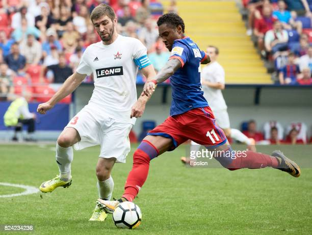 Vitinho of PFC CSKA Moscow vies for the ball with Ismail Ediyev of FC SKA Khabsrovsk during the Russian Premier League match between PFC CSKA Moscow...