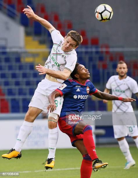 Vitinho of PFC CSKA Moscow vies for the ball with Ruslan Kambolov of FC Rubin Kazan during the Russian Premier League match between PFC CSKA Moscow...