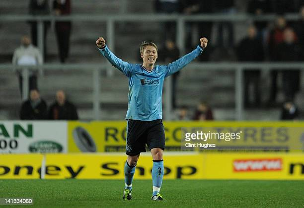 Vitkor Fischer of Ajax celebrates scoring his side's sixth goal and his hat trick during the NextGen Series SemiFinal match between Liverpool U19 and...