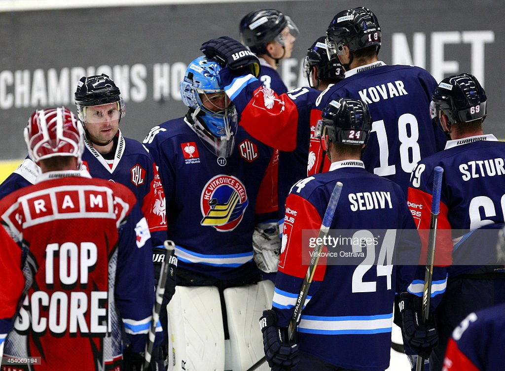 Vitkovice Ostrava players show their dejection after losing the game 2:5 during the Champions Hockey League group stage game between Vitkovice Ostrave and EV Zug on August 23, 2014 in Ostrava, Czech Republic.