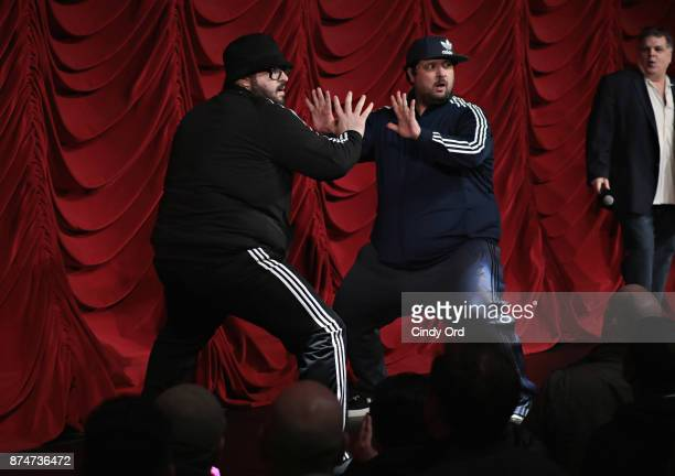 Vito Calise and Chris Stanley take part in SiriusXM host Ron Bennington's annual Thanksgiving Special at Hard Rock Cafe Times Square on November 14...