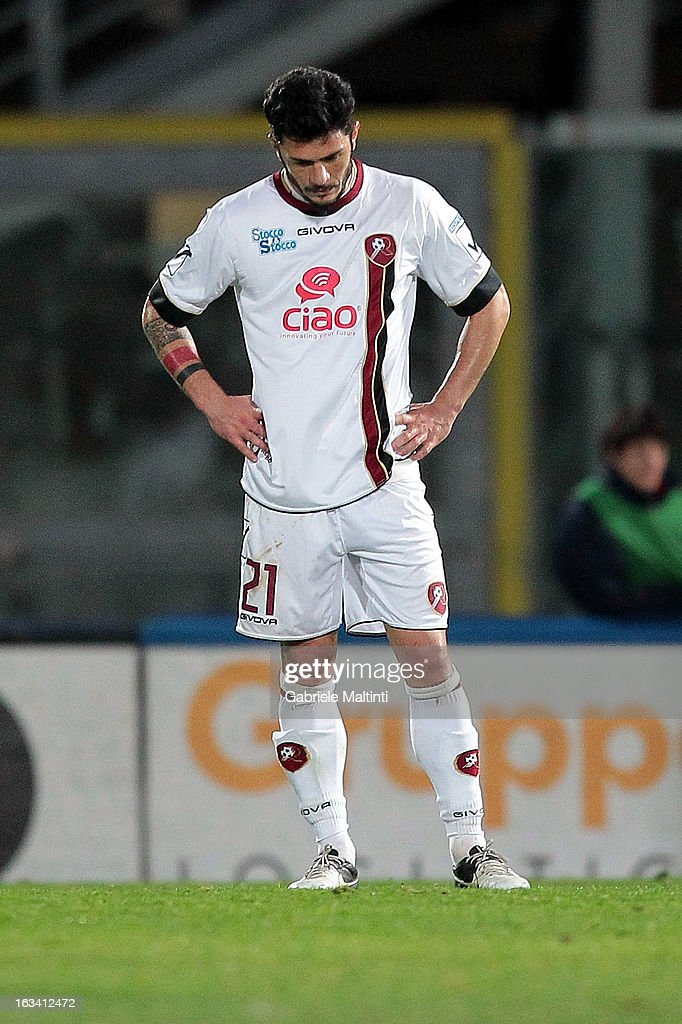 Vito Di Bari of Reggina Calcio shows his dejection during the Serie B match between AS Livorno and Reggina Calcio at Stadio Armando Picchi on March 9, 2013 in Livorno, Italy.