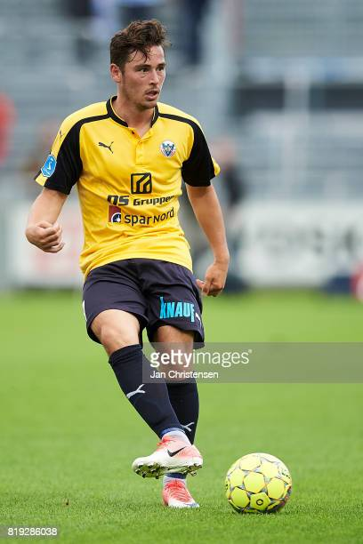 Vito HammershojMistrati of Hobro IK controls the ball during the Danish Alka Superliga match between Hobro IK and FC Helsingor at DS Arena on July 16...