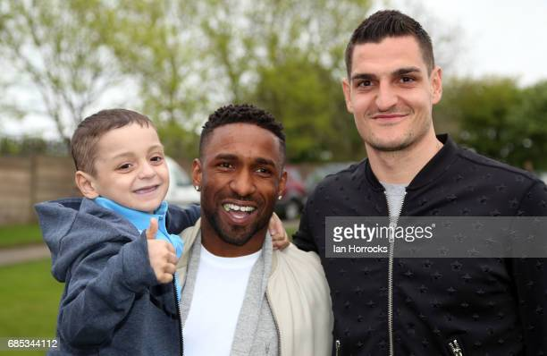 Vito Mannone and Jermain Defoe pictured with Bradley Lowery on his 6th birthday party at Welfare Park Blackhall on May 19 2017 in Peterlee England