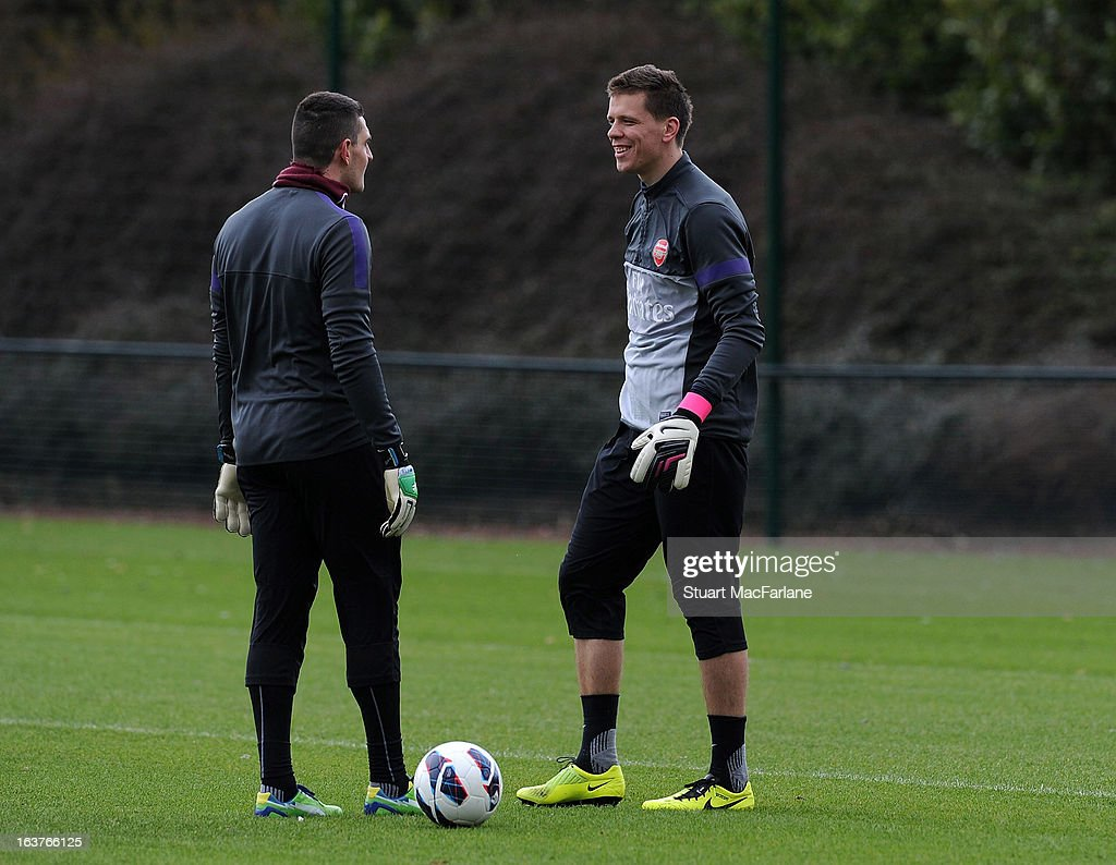 Vito Mannone and Wojciech Szczesny of Arsenal during a training session at London Colney on March 15, 2013 in St Albans, England.