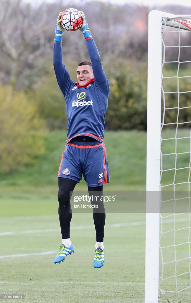 Vito Mannone catches the ball during a Sunderland AFC training session at The Academy of Light on April 29, 2016 in Sunderland, England.
