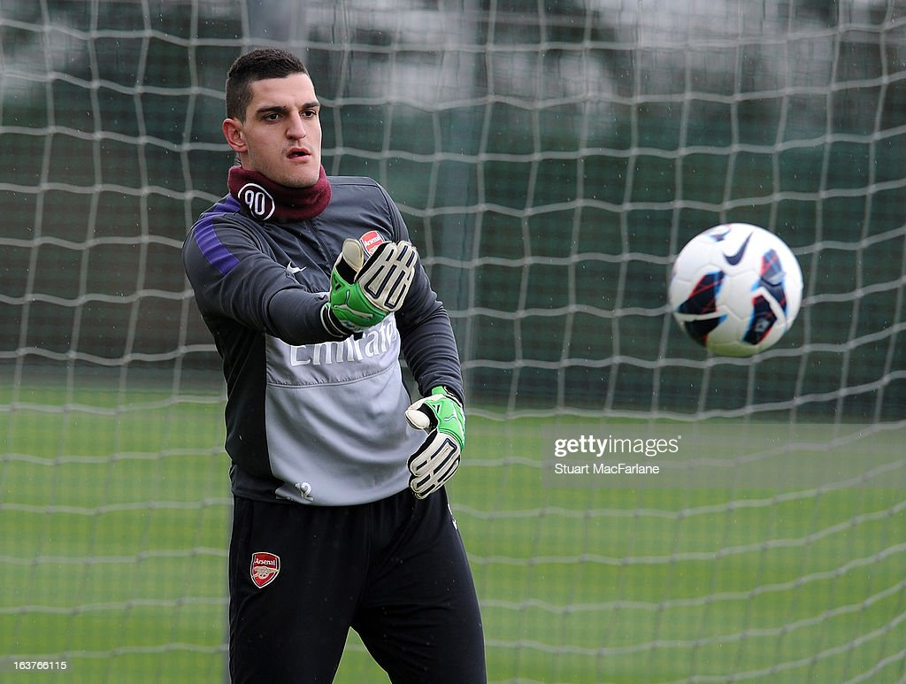Vito Mannone of Arsenal during a training session at London Colney on March 15, 2013 in St Albans, England.