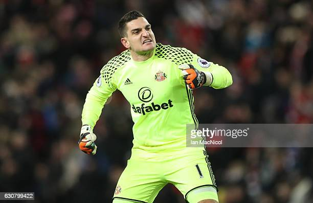 Vito Mannone of Sunderland celebrates as his team draw level for the second time during the Premier League match between Sunderland and Liverpool at...