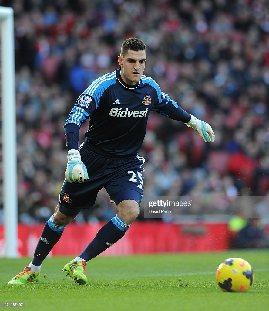 <a gi-track='captionPersonalityLinkClicked' href=/galleries/search?phrase=Vito+Mannone&family=editorial&specificpeople=4174200 ng-click='$event.stopPropagation()'>Vito Mannone</a> of Sunderland during the match between Arsenal and Sunderland in the Barclays Premier League at Emirates Stadium on February 22, 2014 in London, England.