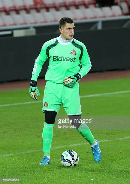 Vito Mannone of Sunderland during the Premier League International Cup match between Sunderland U21 and Villarreal U21 at the Stadium of Light on...