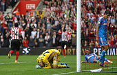 Vito Mannone of Sunderland looks dejected after the eighth goal is scored by Sadio Mane of Southampton during the Barclays Premier League match...