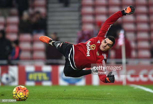 Vito Mannone of Sunderland warms up prior to the Barclays Premier League match between Sunderland and Aston Villa at Stadium of Light on January 2...