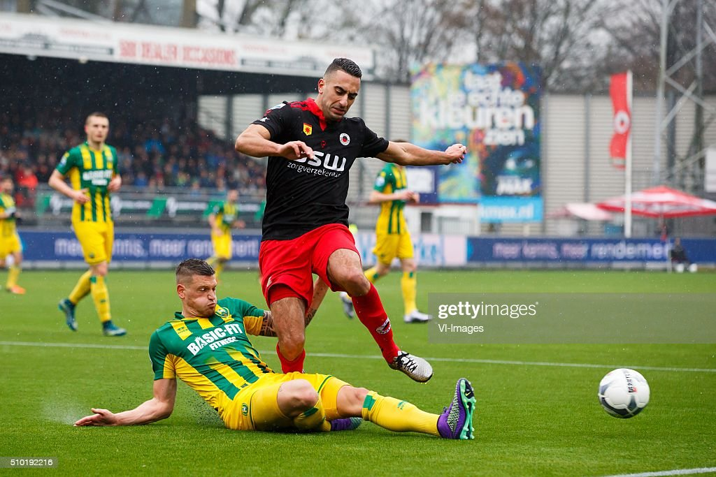 Vito Wormgoor of ADO Den Haag, Adil Auassar of Excelsior during the Dutch Eredivisie match between Excelsior Rotterdam and ADO Den Haag at Woudenstein stadium on February 14, 2016 in Rotterdam, The Netherlands
