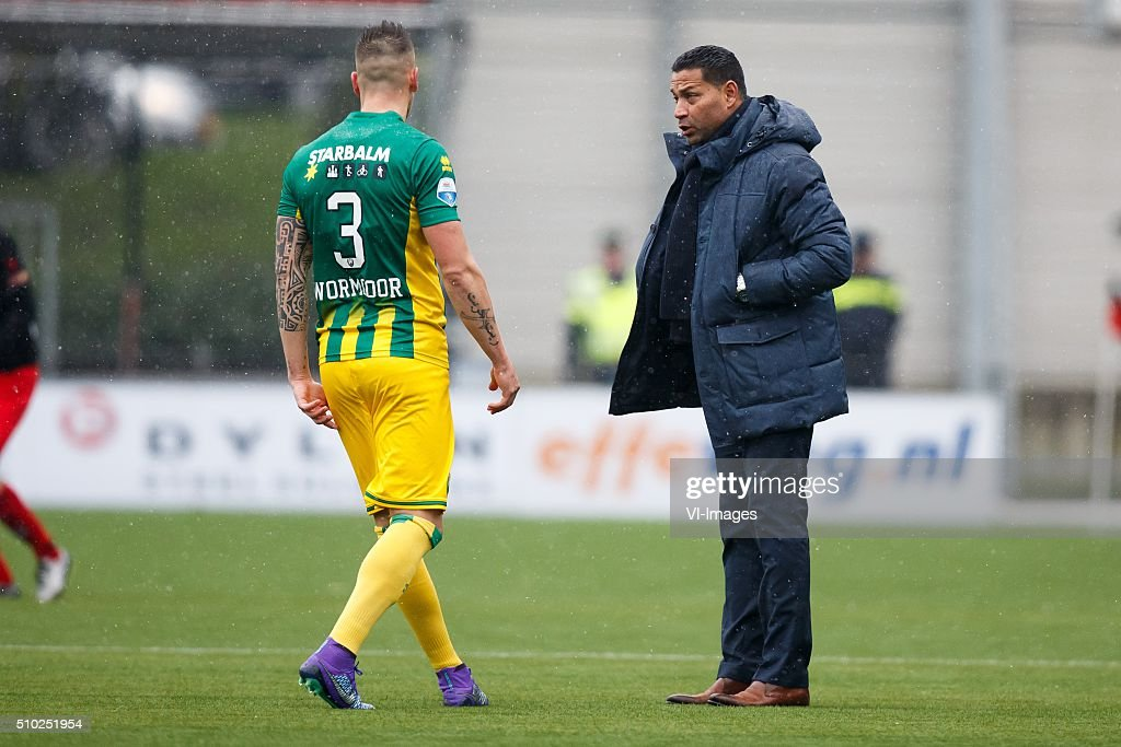 Vito Wormgoor of ADO Den Haag, Coach Henk Fraser of ADO Den Haag during the Dutch Eredivisie match between Excelsior Rotterdam and ADO Den Haag at Woudenstein stadium on February 14, 2016 in Rotterdam, The Netherlands