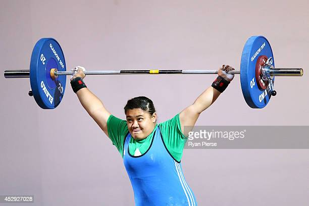 Vitolia Tauasi of Niue lifts in the Women's 75kg Group A at Clyde Auditorium during day seven of the Glasgow 2014 Commonwealth Games on July 30 2014...