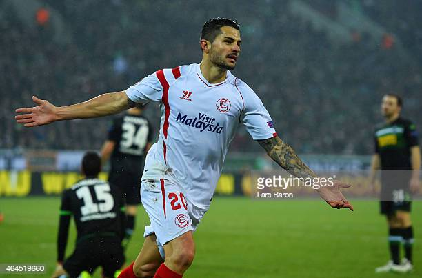 Vitolo of Sevilla celebrates as he scores their second goal during the UEFA Europa League Round of 32 second leg match between Borussia...