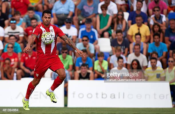 Vitolo of Sevilla controls the ball during a Pre Season Friendly match between Sevilla and Alcorcon at Pinatar Arena Stadium on July 19 2015 in San...