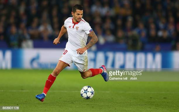 Vitolo of Sevilla during the UEFA Champions League Round of 16 second leg match between Leicester City and Sevilla FC at The King Power Stadium on...