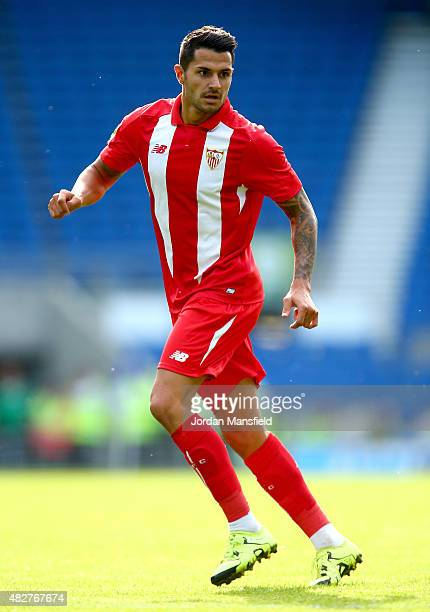 Vitolo of Sevilla in action during the Pre Season Friendly between Brighton Hove Albion and Seville at Amex Stadium on August 2 2015 in Brighton...