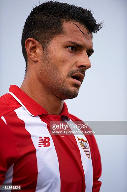 Vitolo of Sevilla looks on during a Pre Season Friendly match between Sevilla and Alcorcon at Pinatar Arena Stadium on July 19 2015 in San Pedro de...